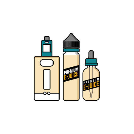 personal vaporizer e-cigarette e-juice liquid plastic bottle vector art