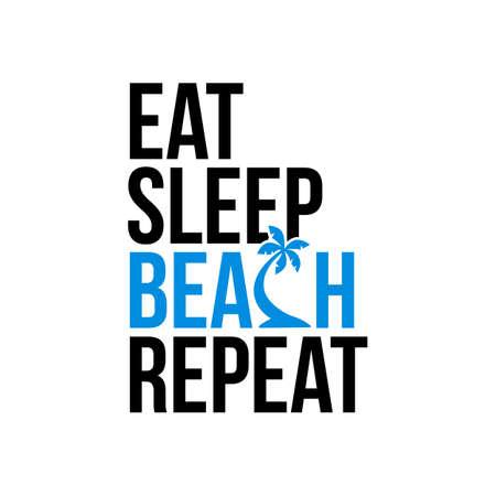 eat sleep beach repeat icon sign Illustration