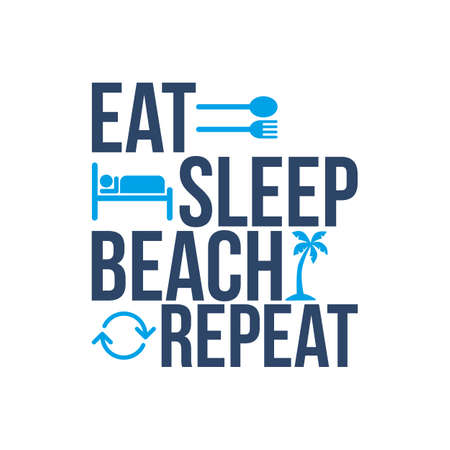 eat sleep beach repeat icon sign Vettoriali