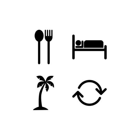 eat sleep beach repeat icon sign Vectores