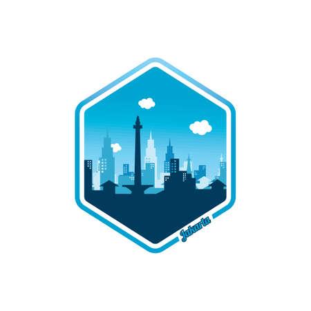 city of Jakarta label badge sticker template vector