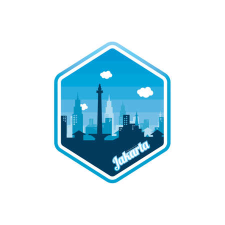 city of Jakarta label badge sticker template vector