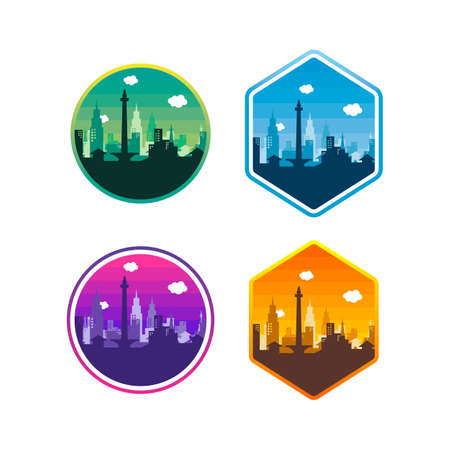 city of Jakarta label badge sticker template set vector