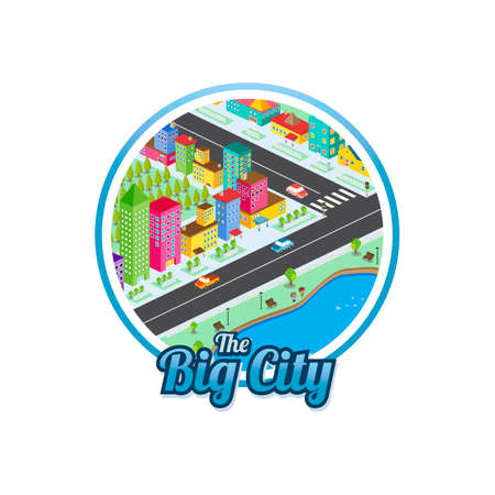 big city isometric real estate realty cartoon template vector Illustration