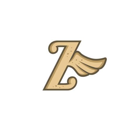 alphabet letter with angel bird wing vector art
