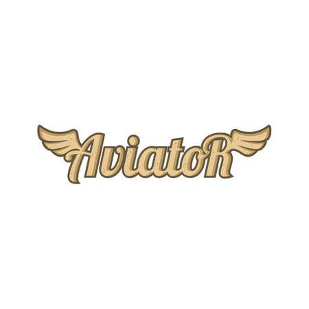 aviator text with angel bird wing vector art Ilustrace