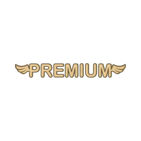premium sign with angel bird wing vector art