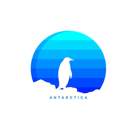 남극 테마 빙산 버그 로고 템플릿 벡터