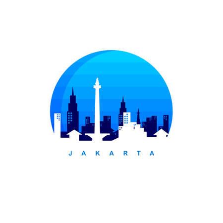 jakarta city indonesia icon template vector art illustration