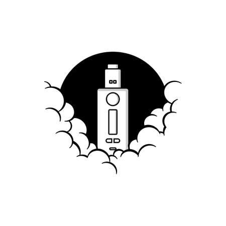 cloudy theme personal vaporizer vape e-cigarette vector art Illusztráció