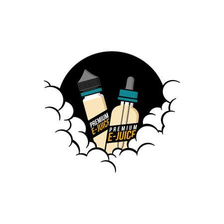 cloudy theme personal vaporizer vape e-cigarette vector art Illustration