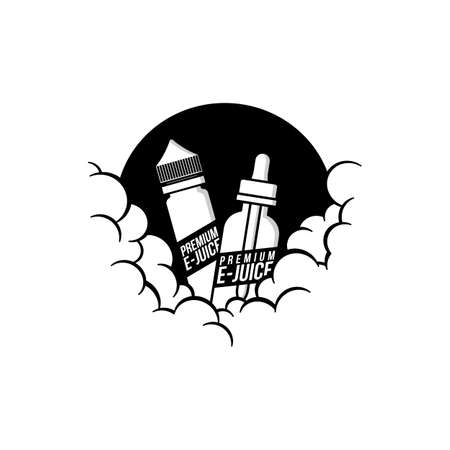 cloudy theme personal vaporizer vape e-cigarette vector art Stock Illustratie