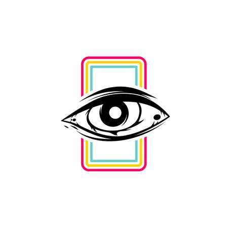 one eye theme sign template vector art