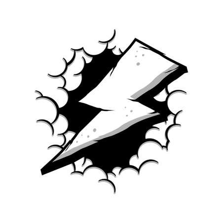 wrath thunder bolt with cloud theme sign vector