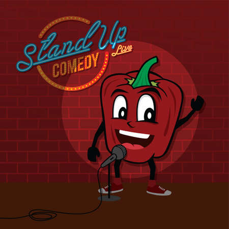 stand up comedy open mic bell pepper vector art illustration