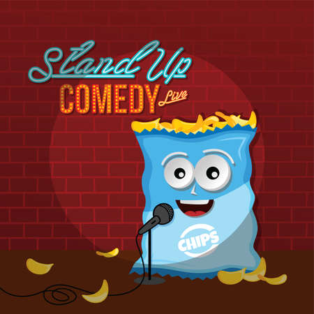 stand up comedy crisps chips vector art illustration Illustration