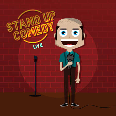 stand up comedy comic guy on stage vector art illustration