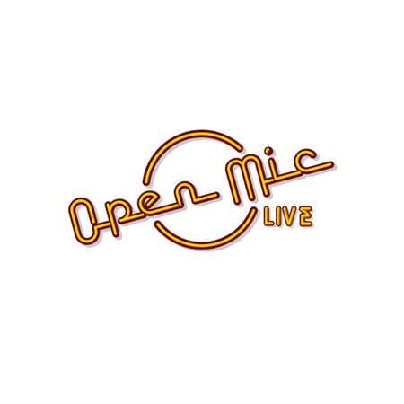 stand up comedy neon sign lamp in text open mic live vector art illustration