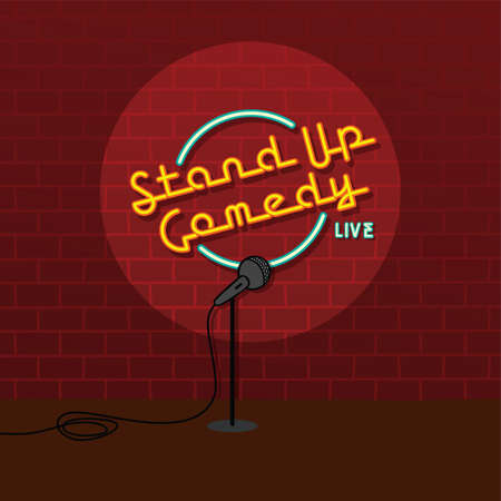 stand up comedy open mic vector art illustration on brick background.
