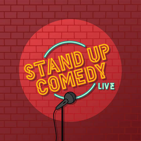 stand up comedy open mic vector art illustration Stock Illustratie