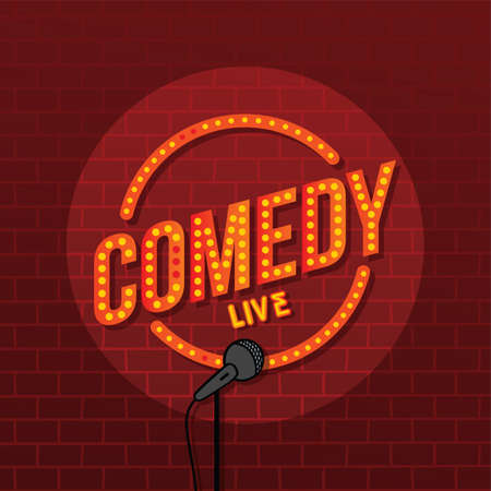 stand up comedy open mic vector art illustration 일러스트