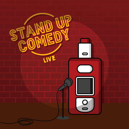 stand up comedy vaporizer theme vector art illustration