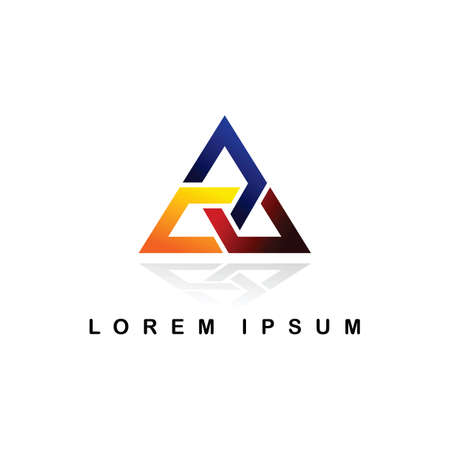 A overlaping triangle logo logotype vector art illustration Illustration