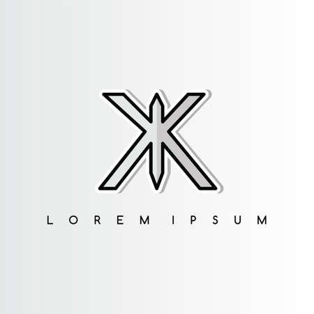 double k overlaping sign logo logotype vector art illustration