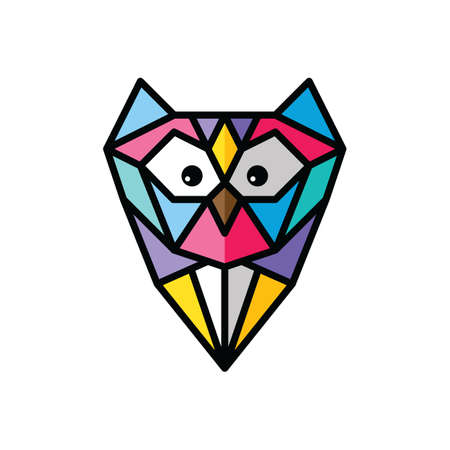 Owl formed in shredded glass colorful theme vector art
