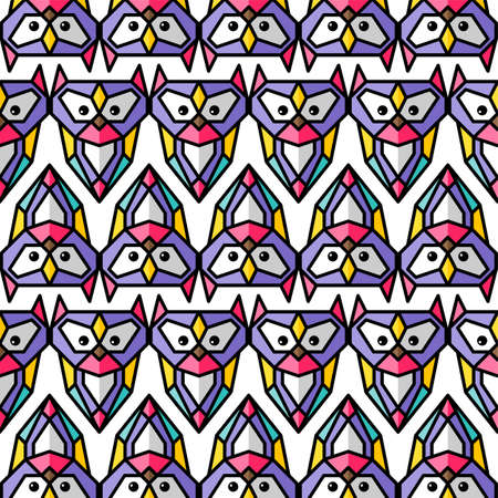 Colorful owl background pattern theme vector art illustration.