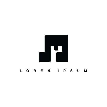Alphabet letter art theme logo vector music note Illustration