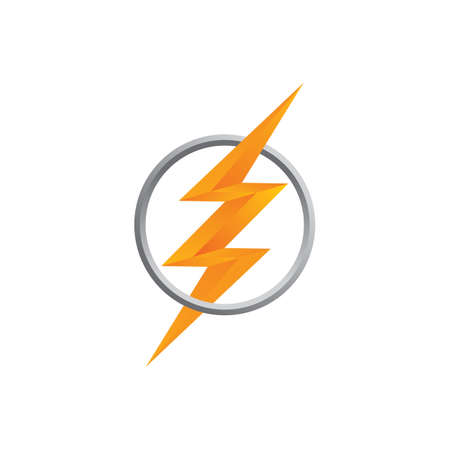 orange thunder bolt sign logo vector art Çizim