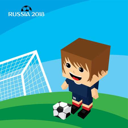 group team russia soccer tournament 2018 vector art Illustration
