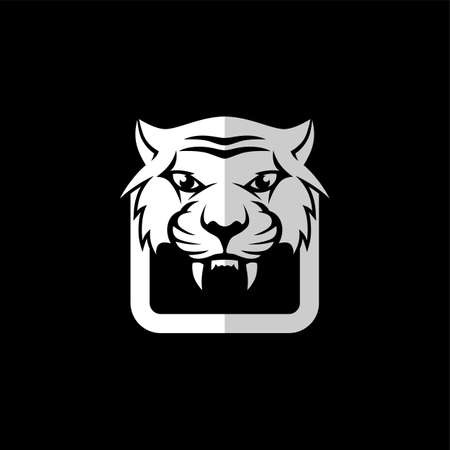 intimidating tiger front view theme template vector Illustration