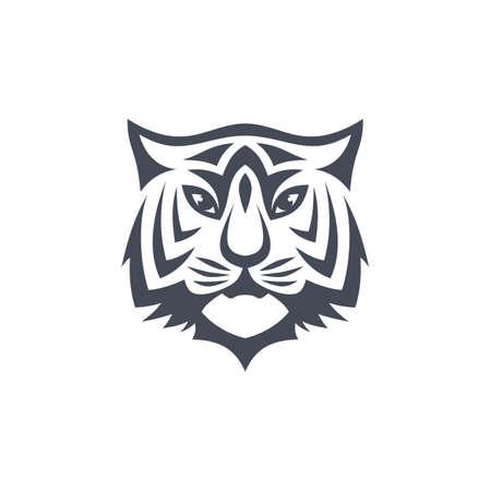 Vector de plantilla de logotipo de tema de vista frontal de tigre intimidante