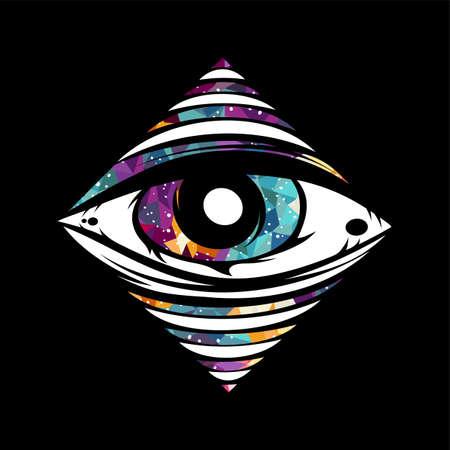 all seeing eye theme logo template vector art Illustration