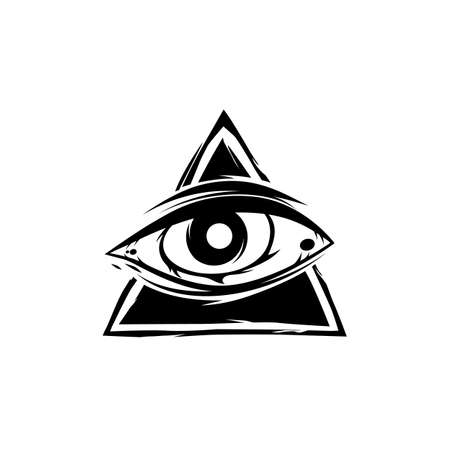 all seeing eye theme template vector art Illustration