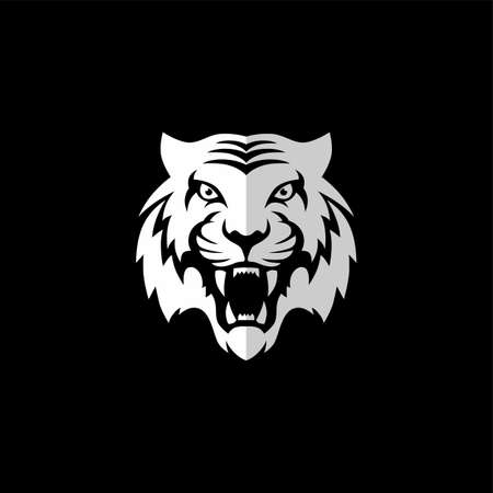 intimidating tiger front view theme template vector Vectores