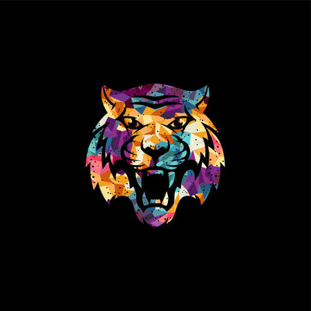 intimidating tiger front view theme template vector Ilustrace