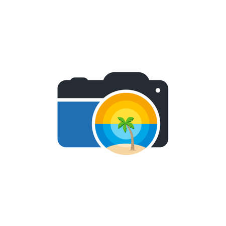 summer beach camera photograpy sign symbol vector