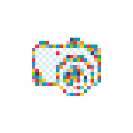 pixel camera photograpy sign symbol vector art illustration Ilustração