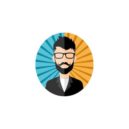 Retro gentleman avatar portrait figure vector art