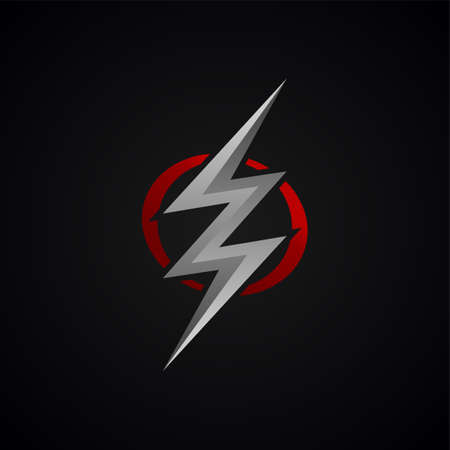 red silver lightning bolt thunder sign vector 일러스트