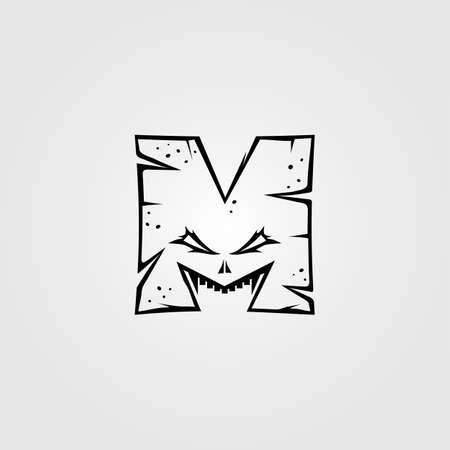 alphabet m letter monster character sign symbol vector art