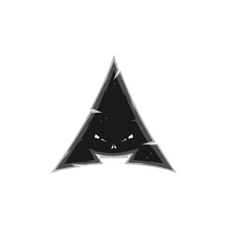 triangle shaped monster character sign symbol vector art