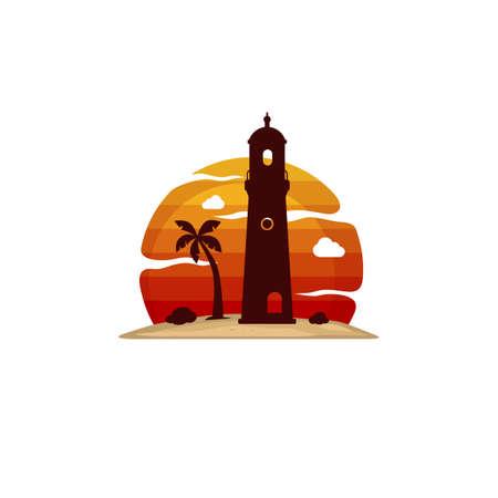 lighthouse beach island view vector art Stok Fotoğraf - 111578113