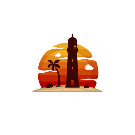 lighthouse beach island view vector art