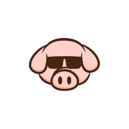 cochon cool avec des lunettes de soleil cartoon vector art Vecteurs