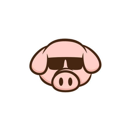 cool pig with sunglasses cartoon vector art