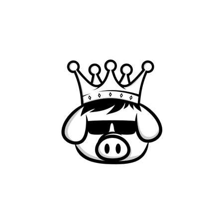 rey cerdo corona cerdo tocino tema dibujos animados vector